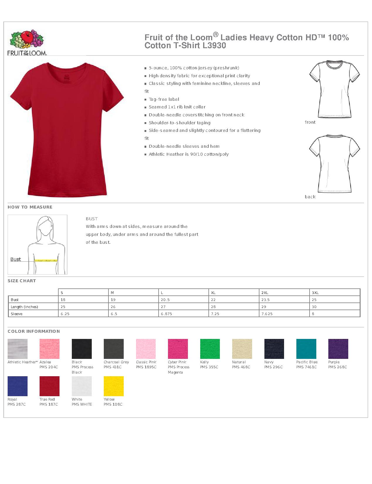 Fruit Of The Loom Ladies Heavy Cotton Hd 100 Cotton T Shirt