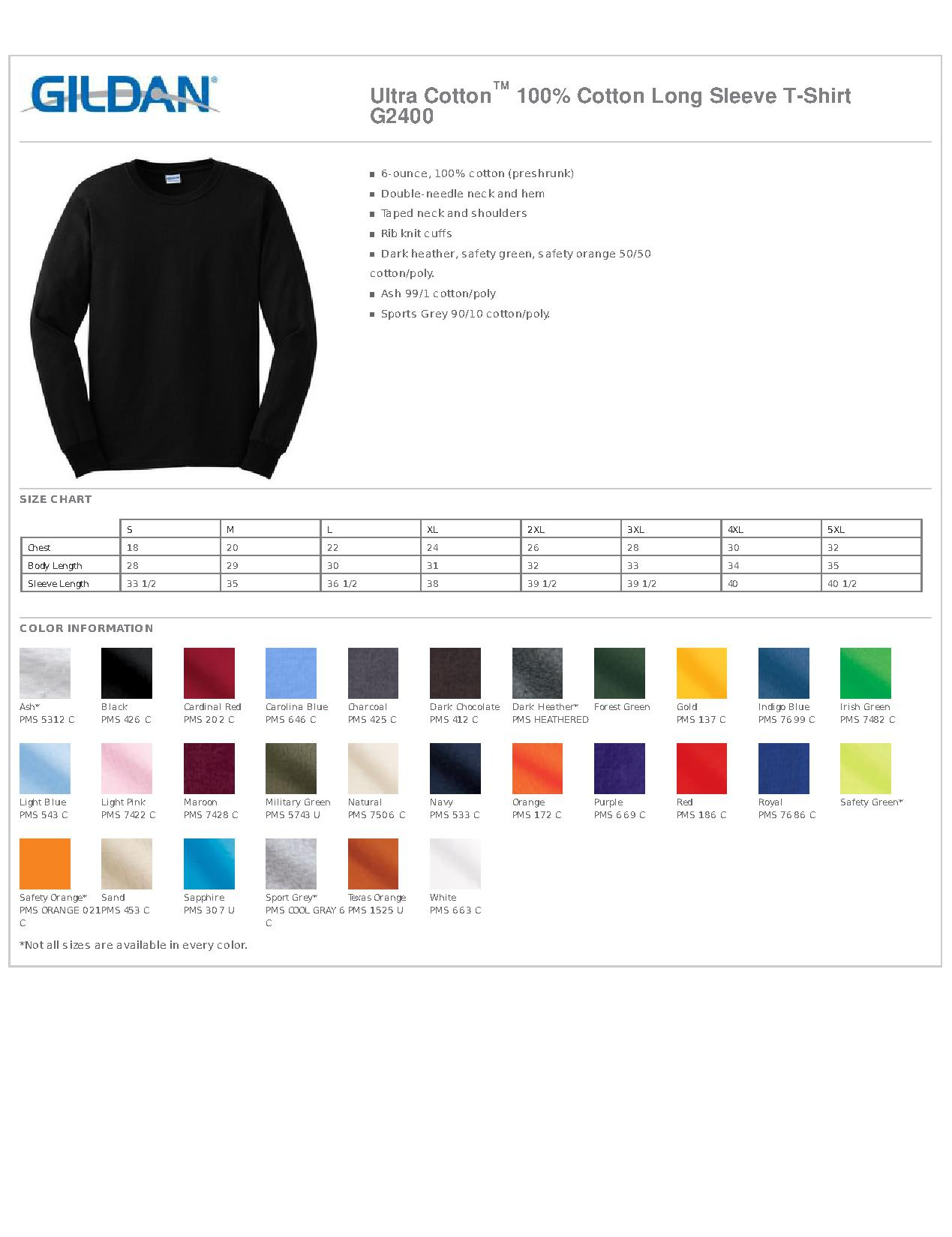 Gildan g2400 ultra cotton 100 cotton long sleeve t shirt mens specs sizing specs nvjuhfo Image collections