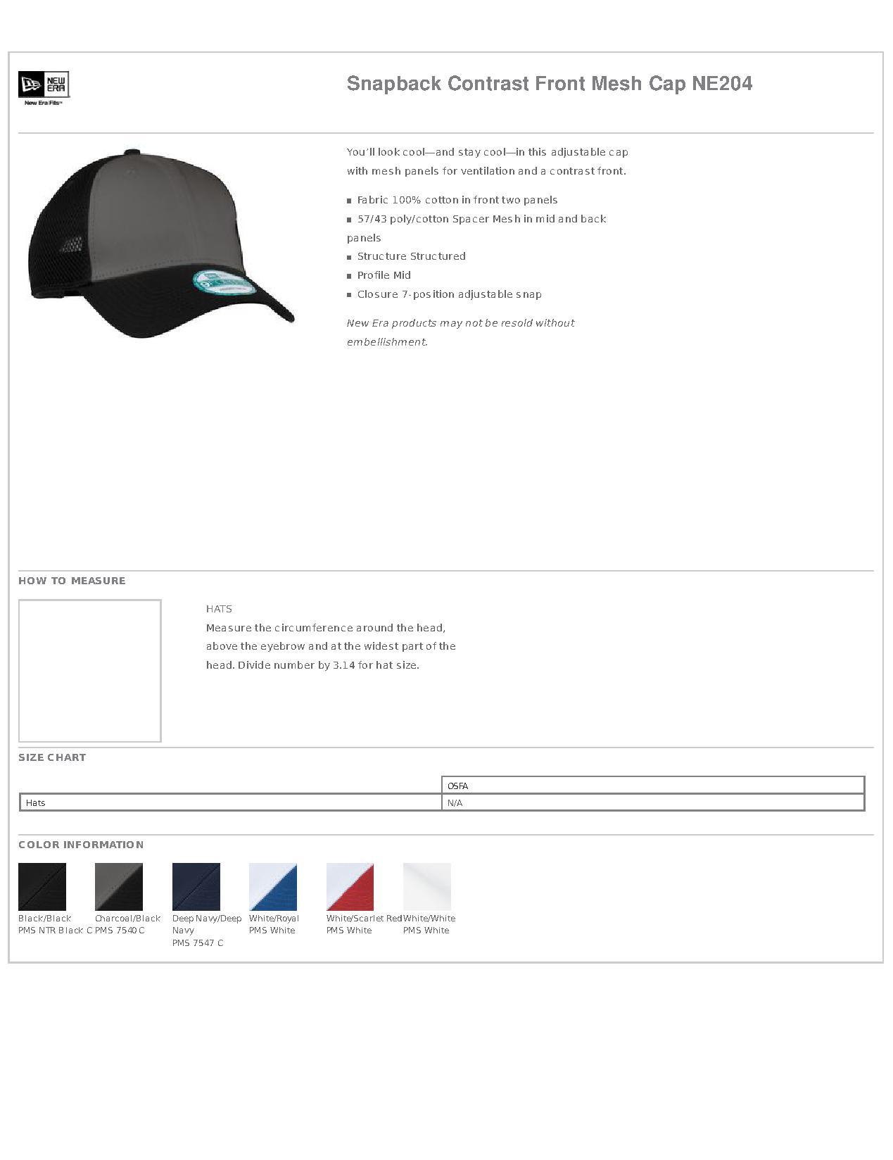 0ff53b37a New Era® NE204 Snapback Contrast Front Mesh Cap - Headwear
