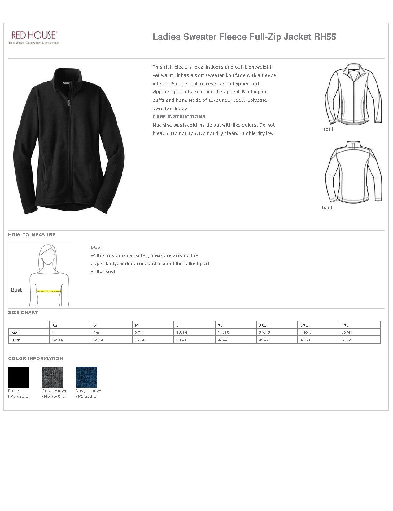 122c9aaaff Red House® RH55 Ladies Sweater Fleece Full-Zip Jacket - Outerwear