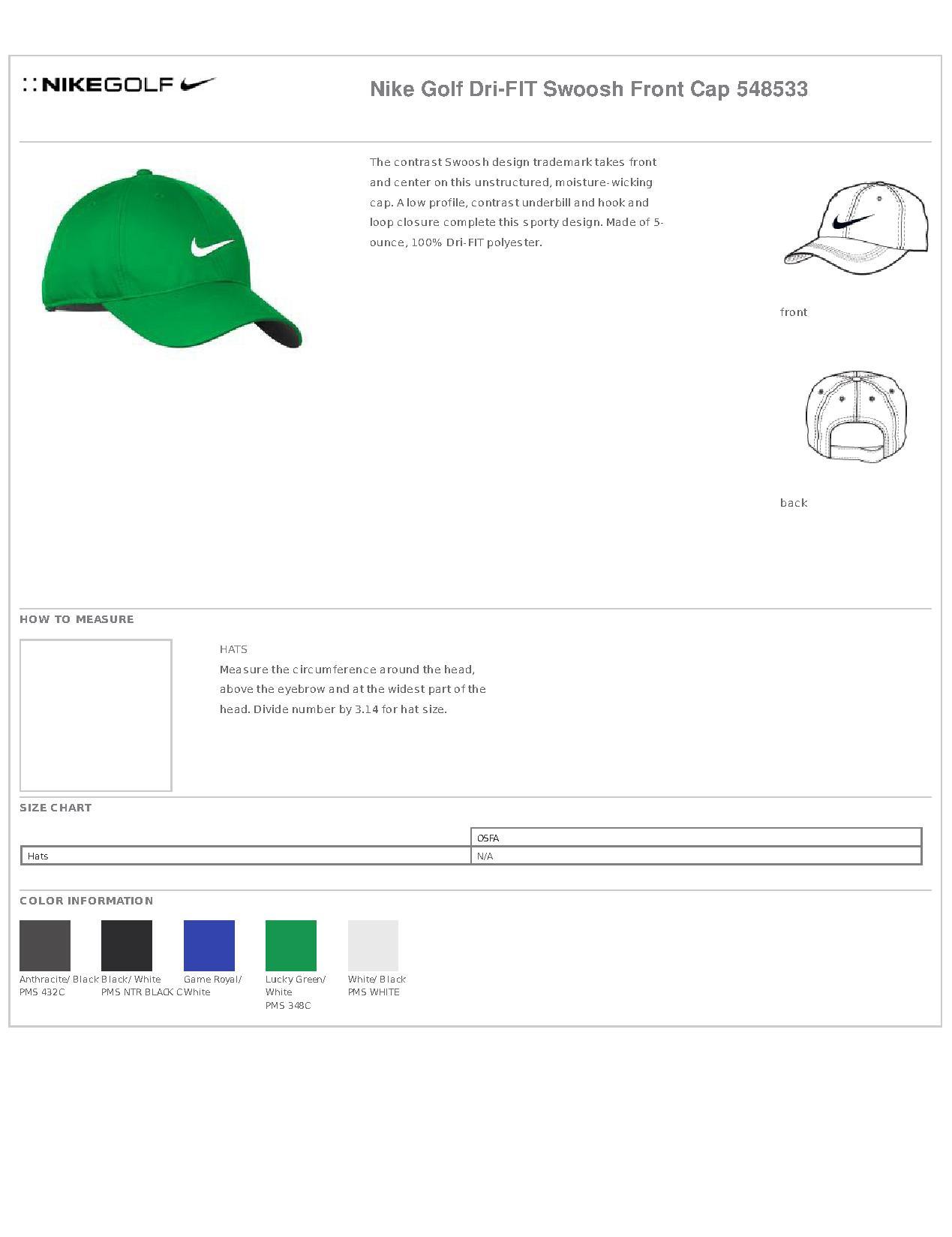 Nike Golf 548533 Dri-FIT Swoosh Front Cap - Headwear 09b31bf5d949