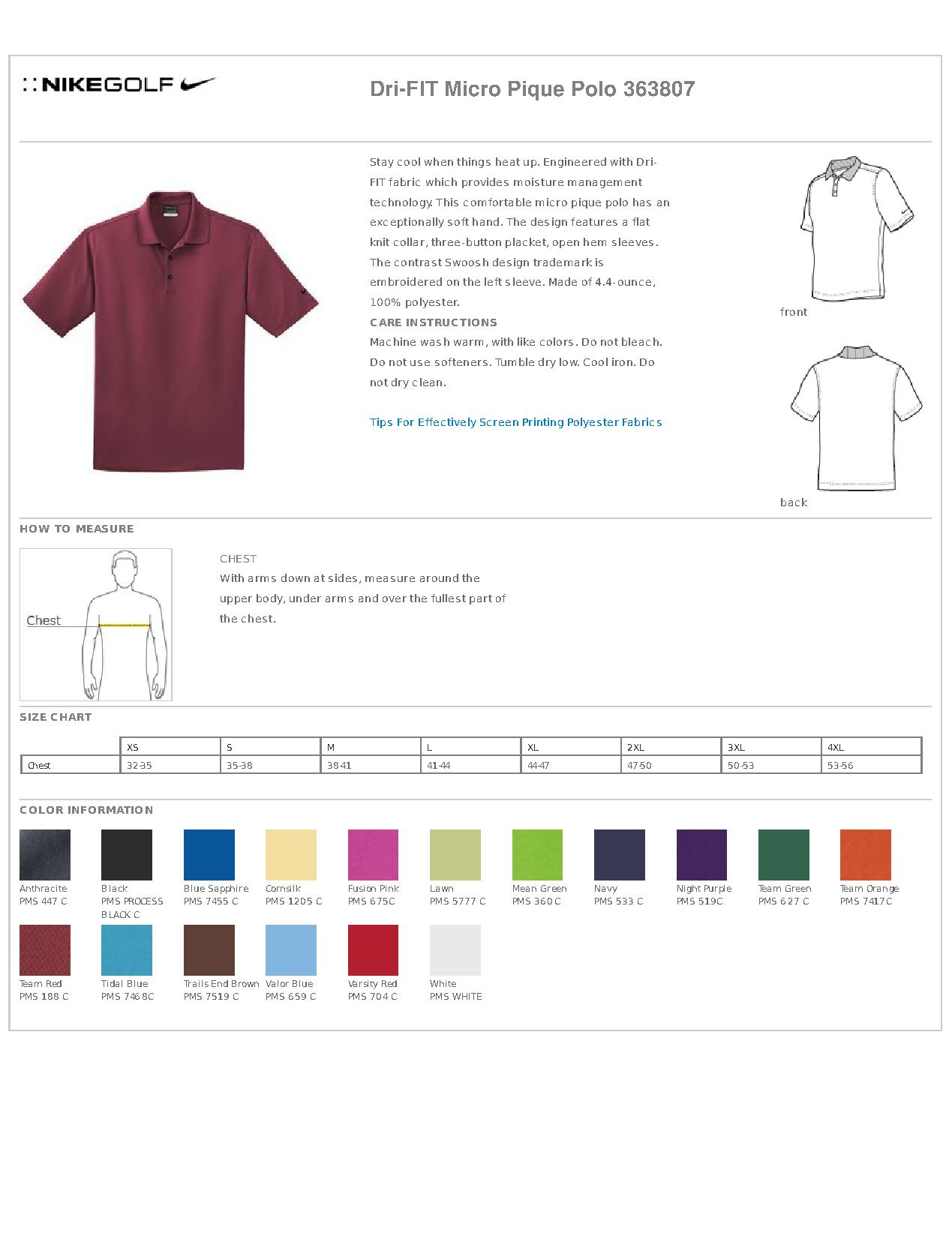 0138a4a3 Popular Designs. custom design of Nike Golf 363807 Dri-FIT Micro Pique Polo