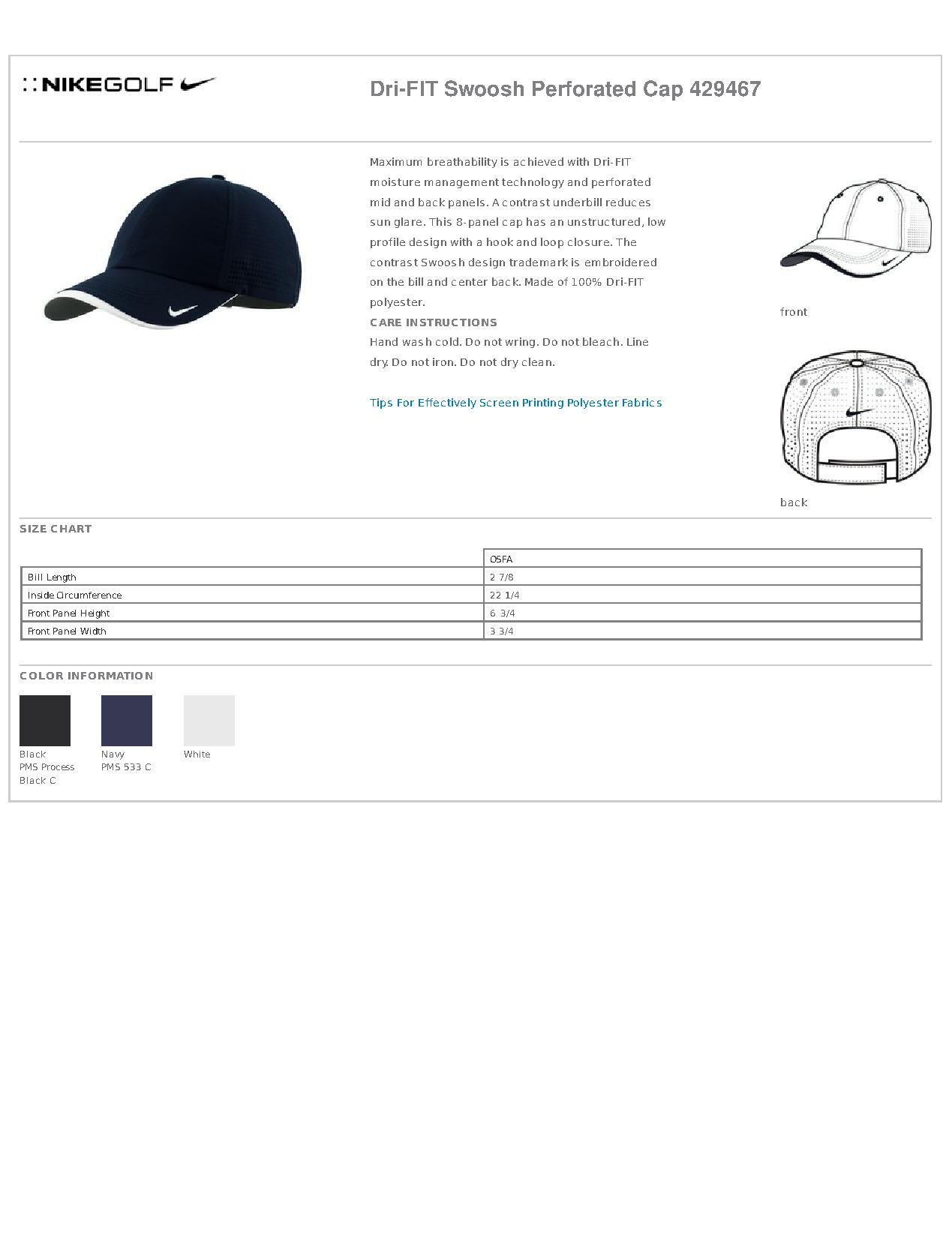e0c04d0fc8d Nike Golf 429467 Dri-FIT Swoosh Perforated Cap - Headwear