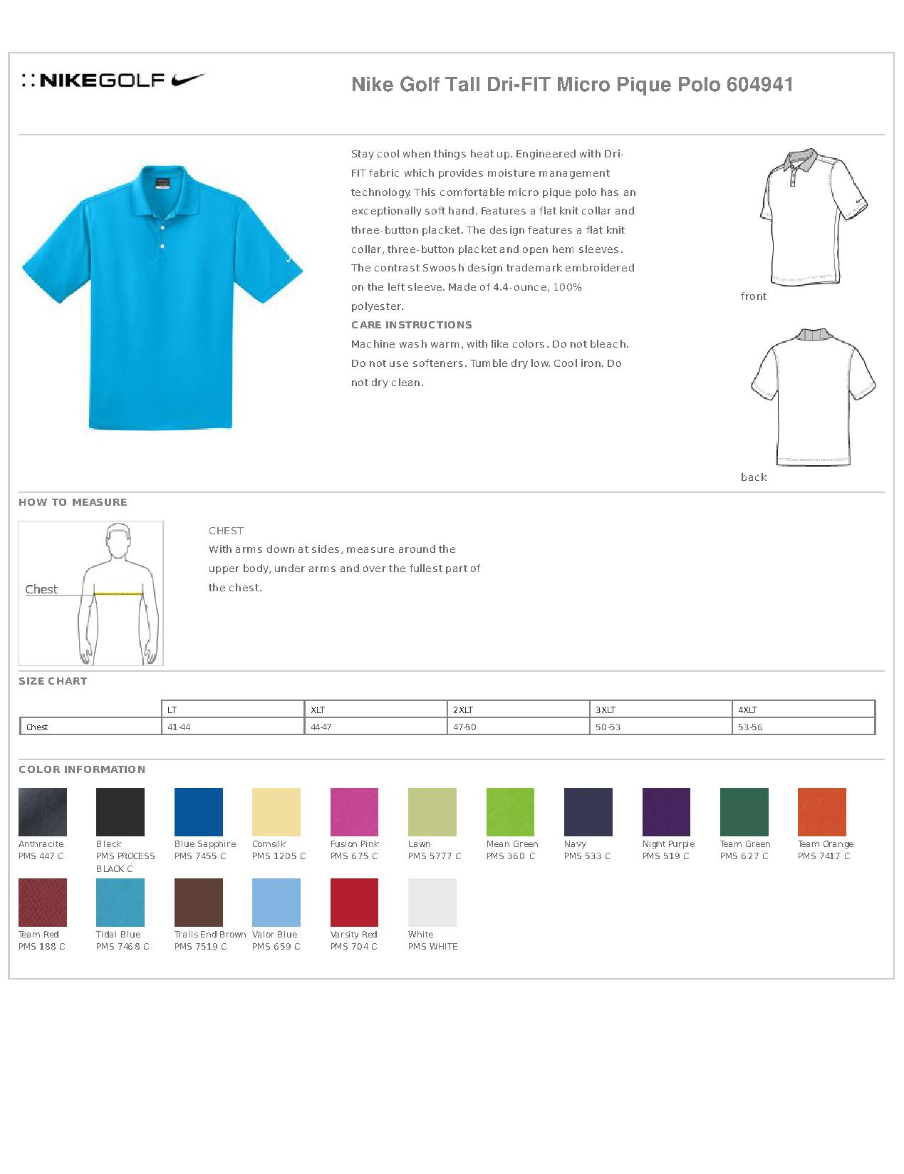 e08fb2f0 Nike Golf Tall Dri-FIT Micro Pique Polo. 604941 - Sports Shirts