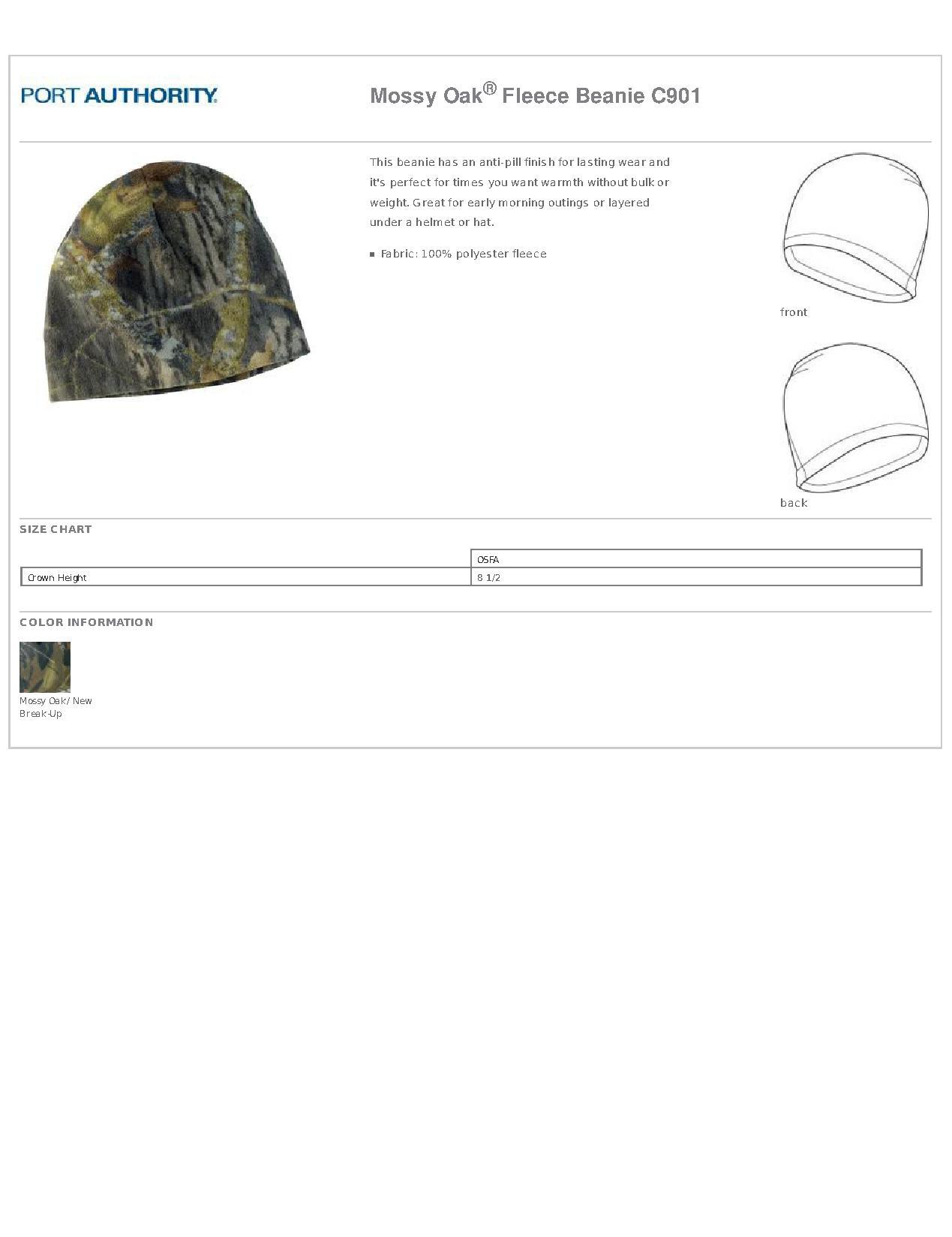 9b77589bf86 Port Authority® C901 Mossy Oak® Fleece Beanie - Headwear