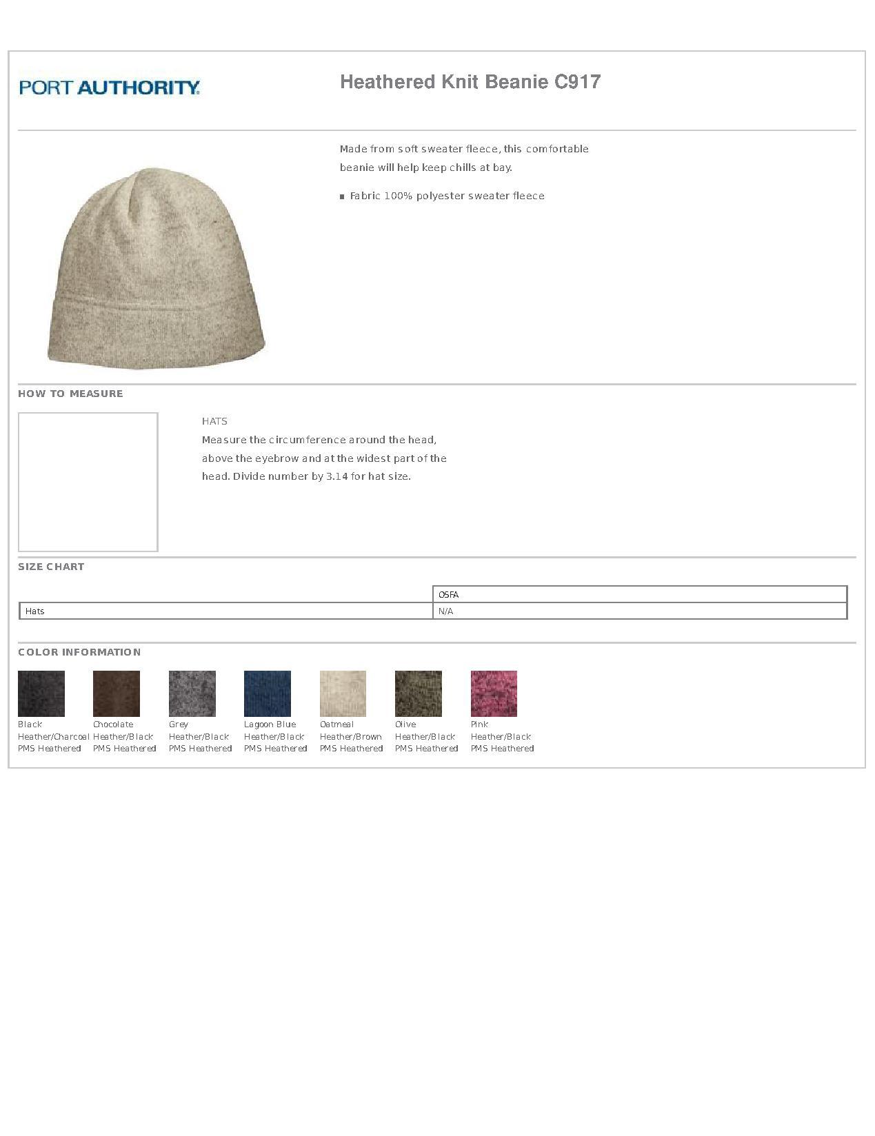4112f84c0e4 Port Authority® C917 Heathered Knit Beanie - Headwear