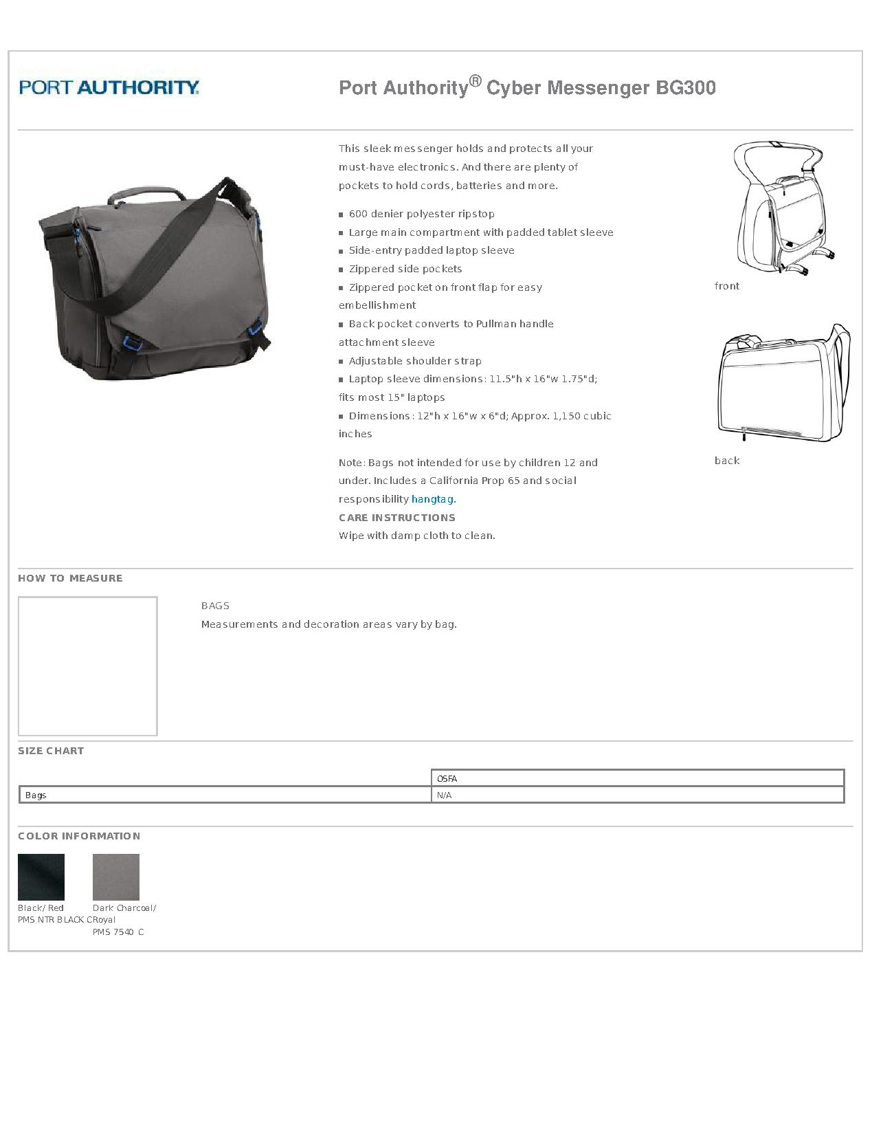 f0794b18360f Port Authority® BG300 - Cyber Messenger - Bags