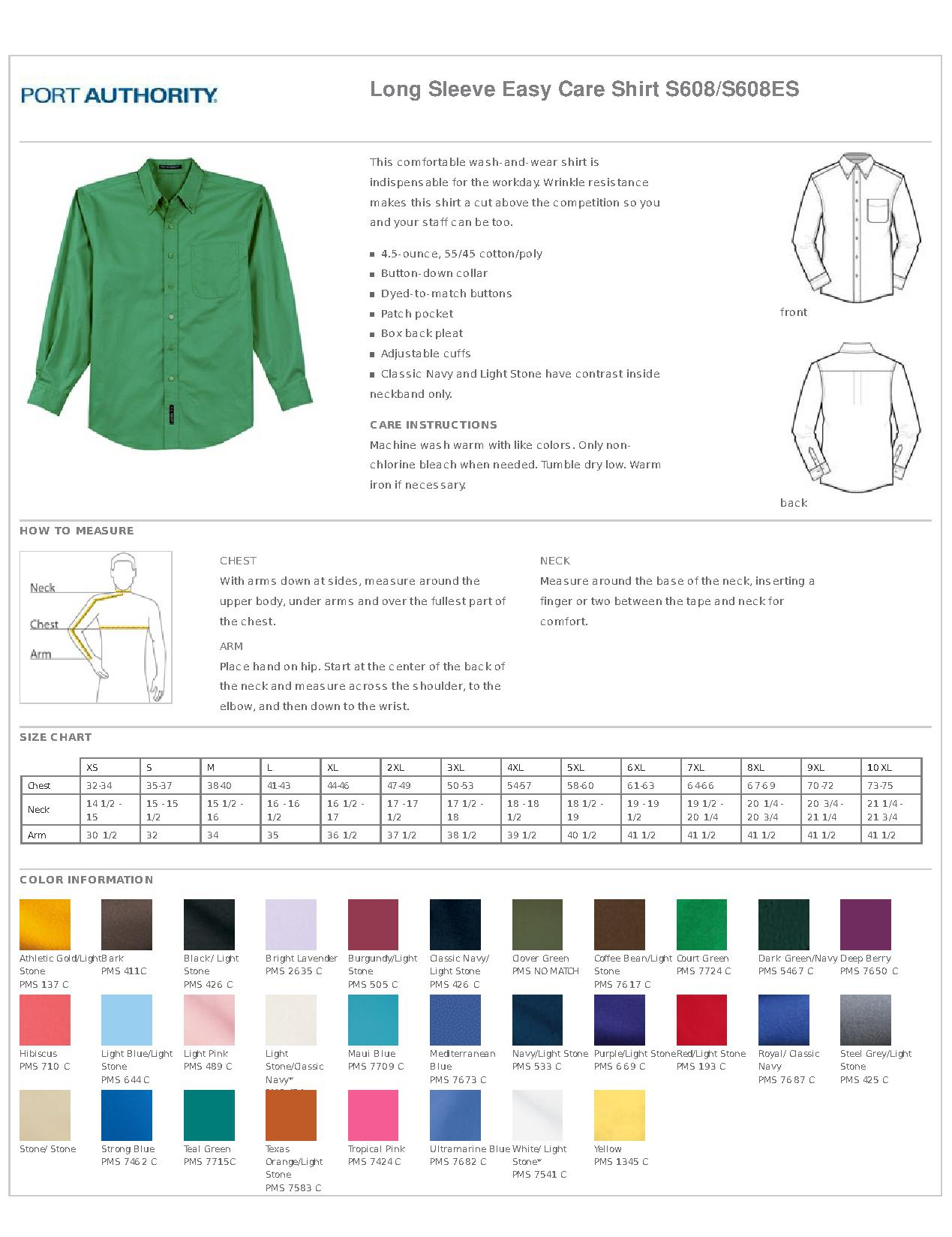 Port authority s608 long sleeve easy care shirt mens woven shirts specs sizing specs nvjuhfo Images