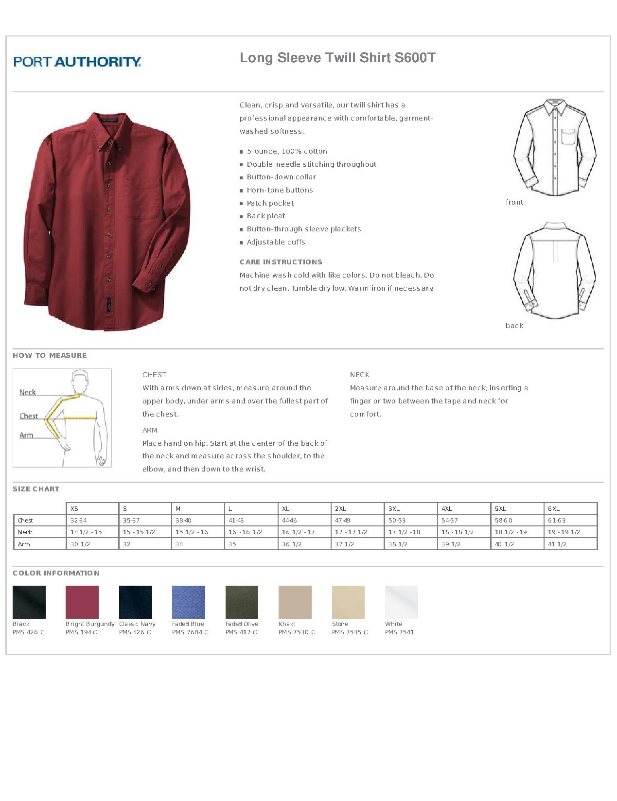 Port Authority Las Shirt Size Chart