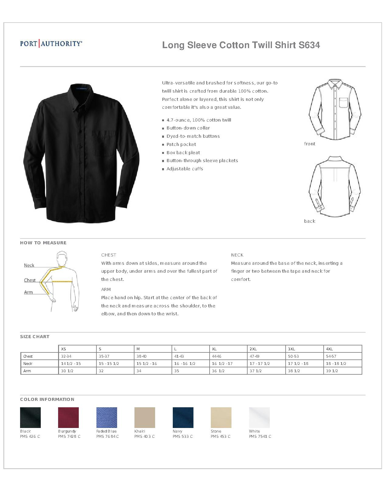 Port Authority® S634 Long Sleeve Value Cotton Twill Shirt - Woven Shirts