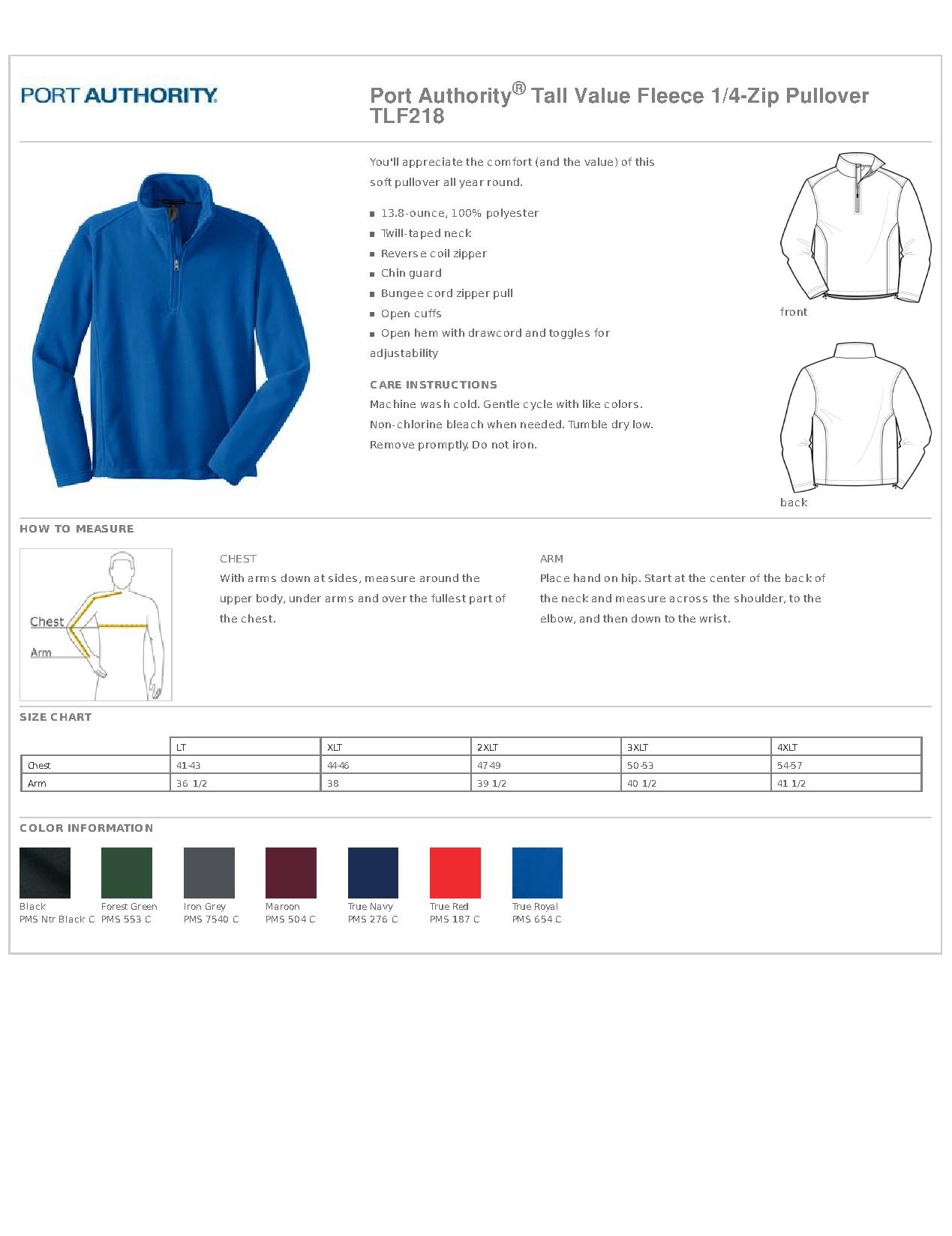 Port Authority® TLF218 - Tall Value Fleece 1/4-Zip Pullover - Men\'s ...