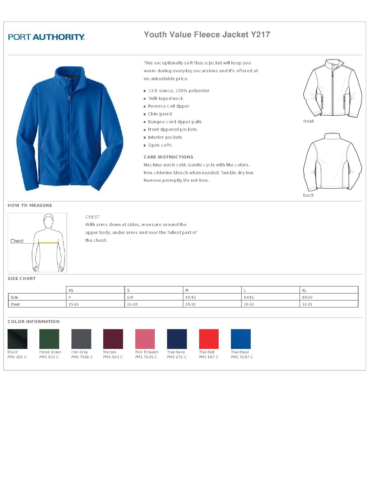 Port Authority® Y217 Youth Value Fleece Jacket - Outerwear