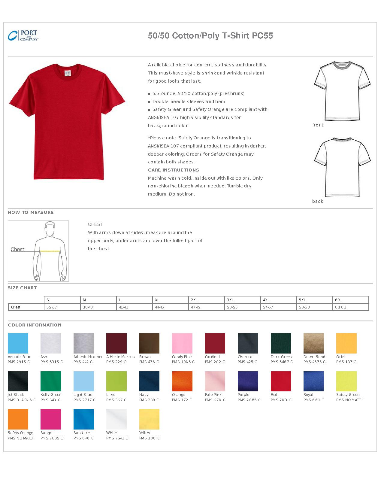 ec1b0e266aa Port   Company® PC55 50 50 Cotton Poly T-Shirt - Men s T-Shirts