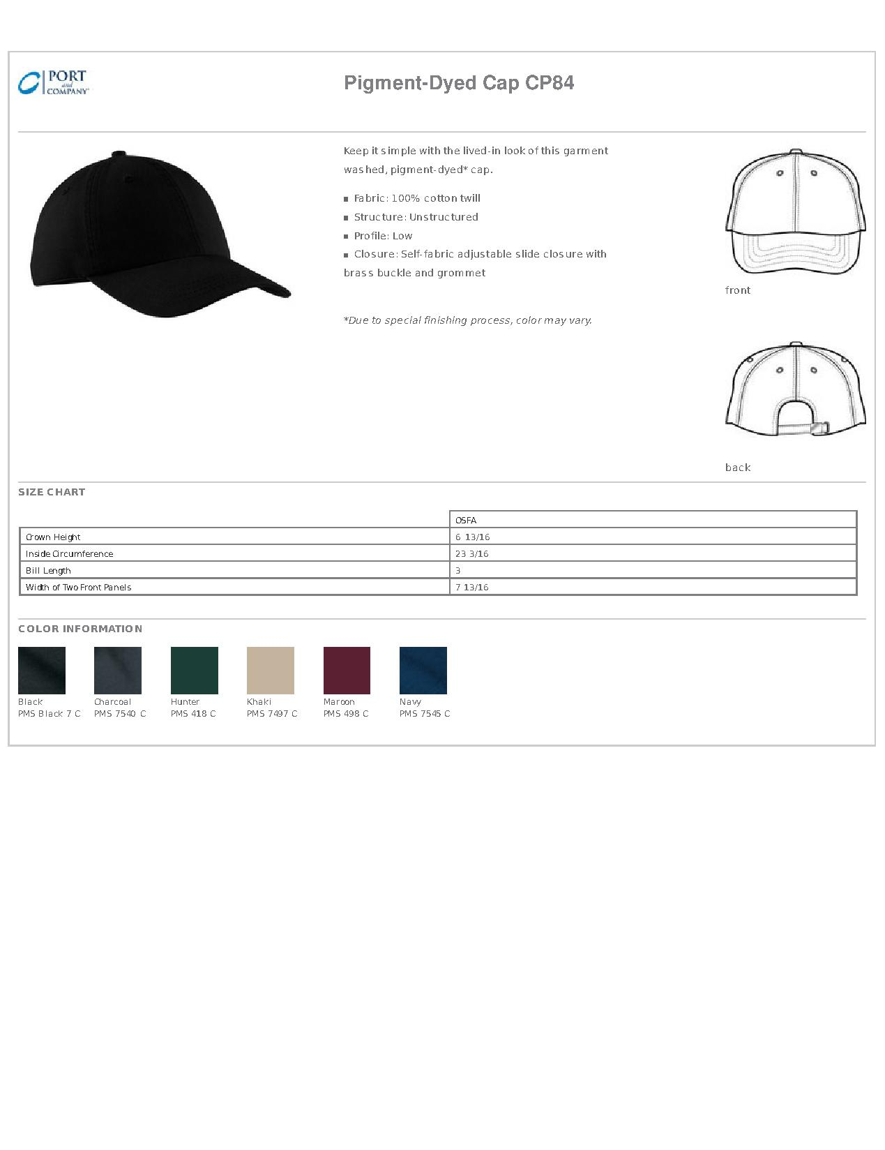 6163e87daf4 Port   Company® CP84 Pigment-Dyed Cap - Headwear