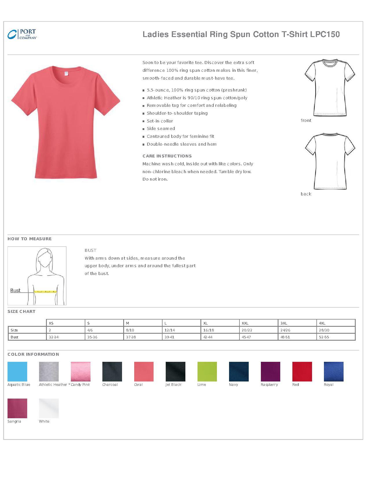 Port Amp Company 174 Lpc150 Ladies Essential Ring Spun Cotton T