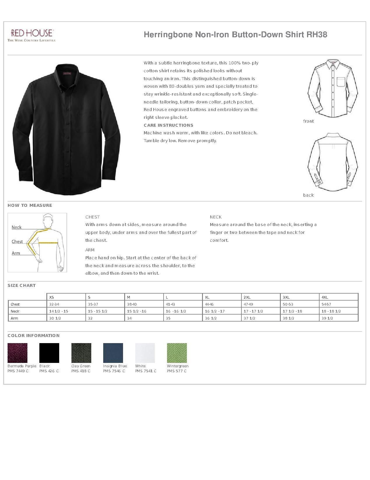 e876f8b6 Red House® RH38 Herringbone Non-Iron Button-Down Shirt - Woven Shirts