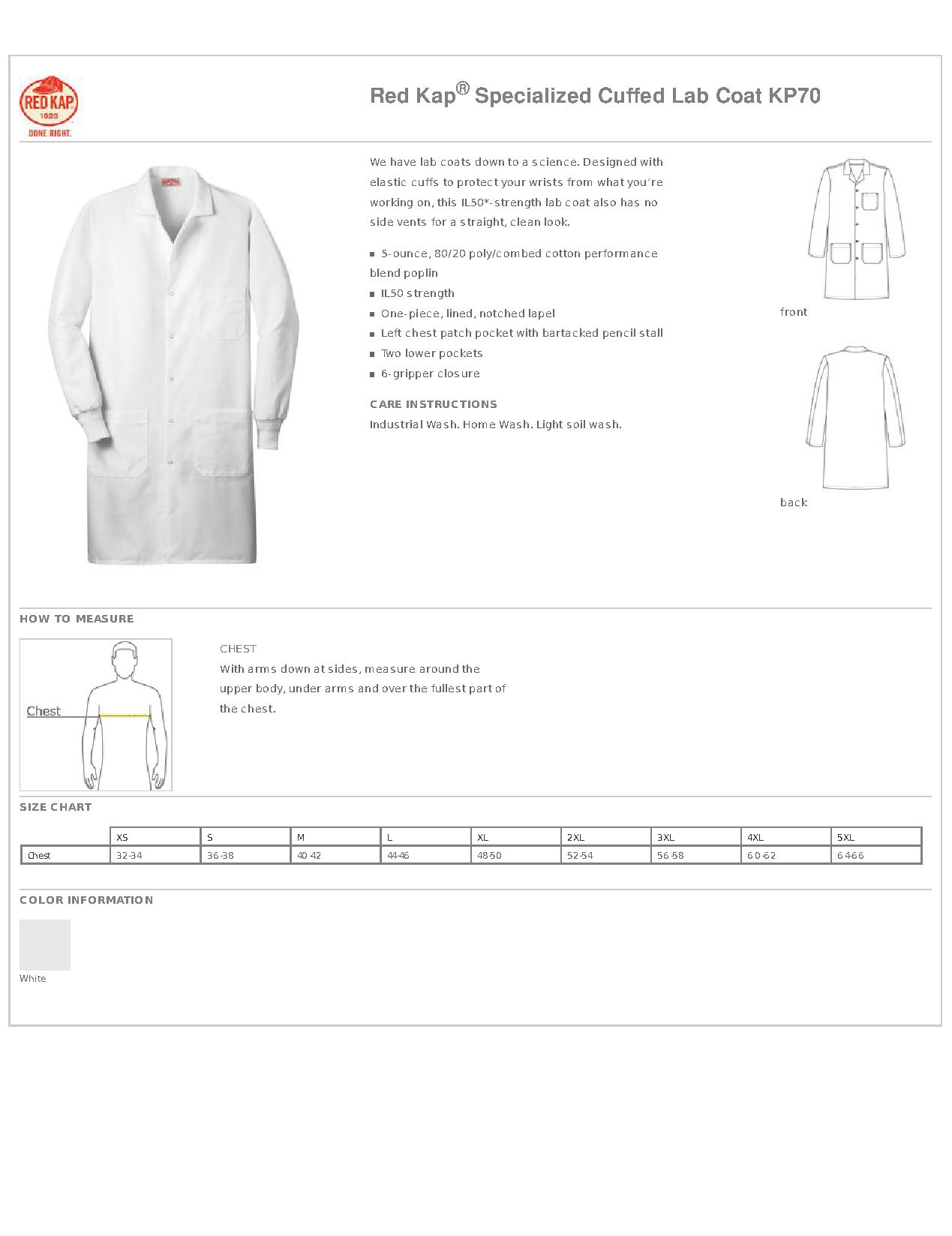 Red Kap Specialized Cuffed Lab Coat Kp70 Work Shirts