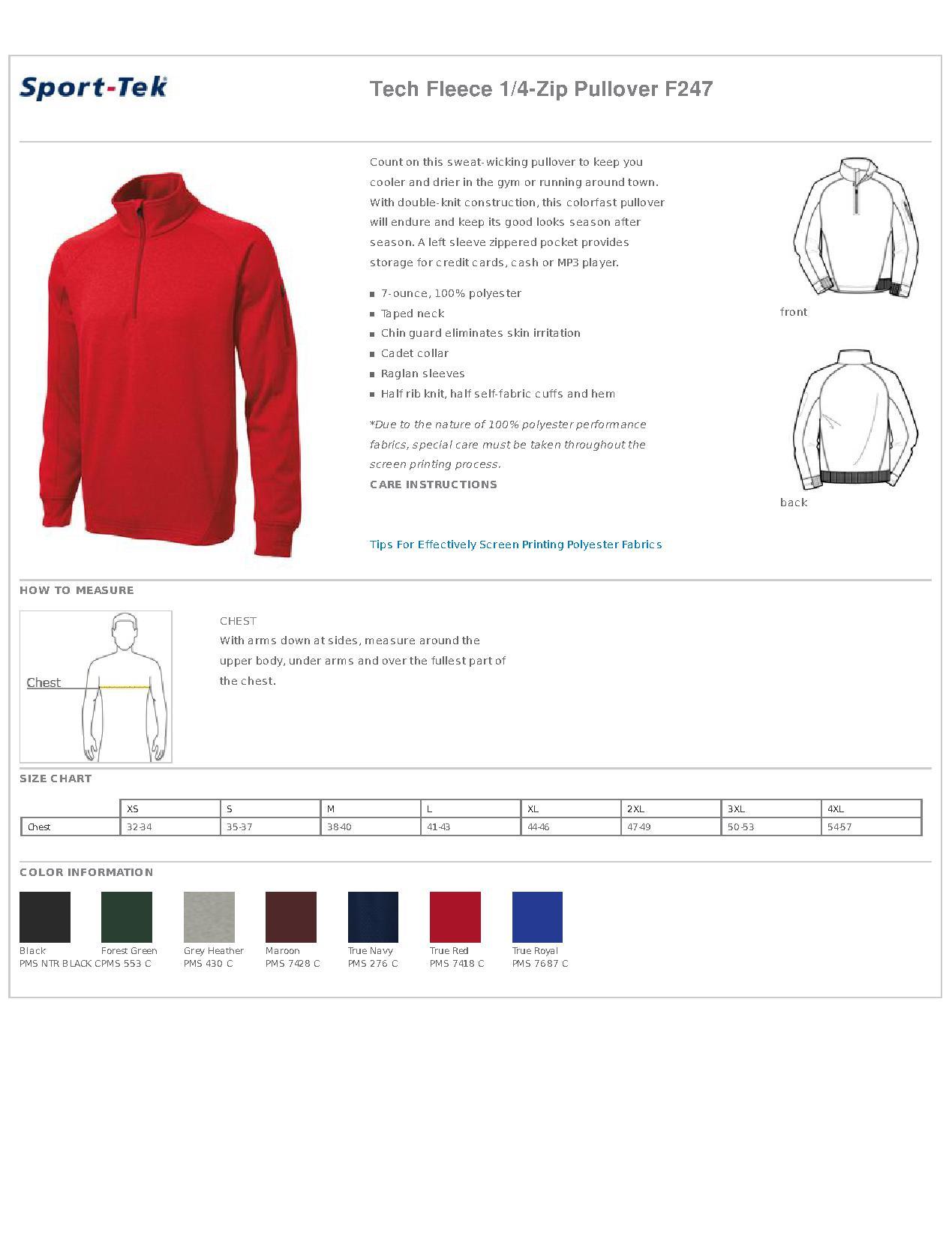 72144402221 Sport-Tek® F247 Tech Fleece 1 4-Zip Pullover - Fleece