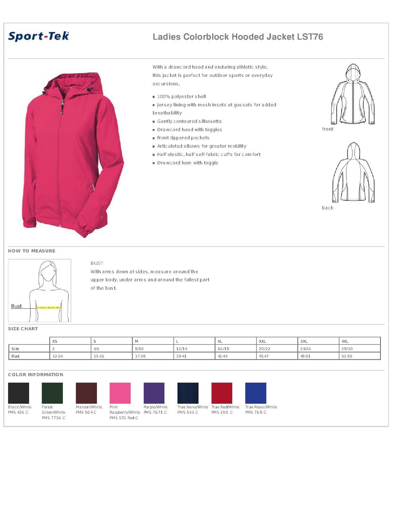 1b896aec Sport-Tek® LST76 Ladies Colorblock Hooded Jacket - Outerwear