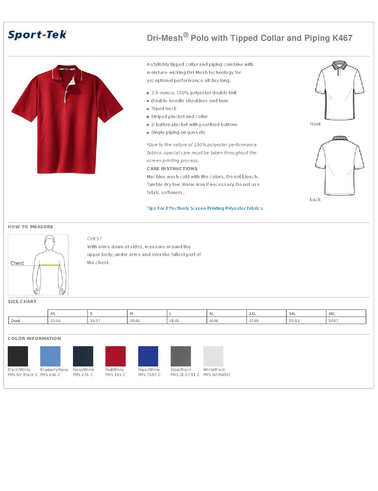 8774cd65 Sport-Tek® K467 Dri-Mesh® Polo with Tipped Collar and Piping - Men's ...