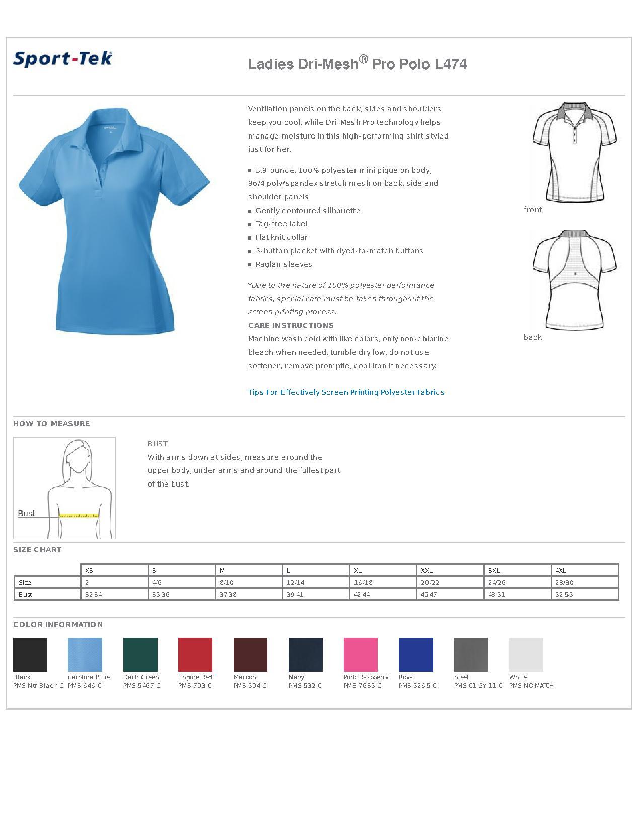 Sport-Tek® L474 Ladies Dri-Mesh® Pro Polo - Women's Sport Shirts