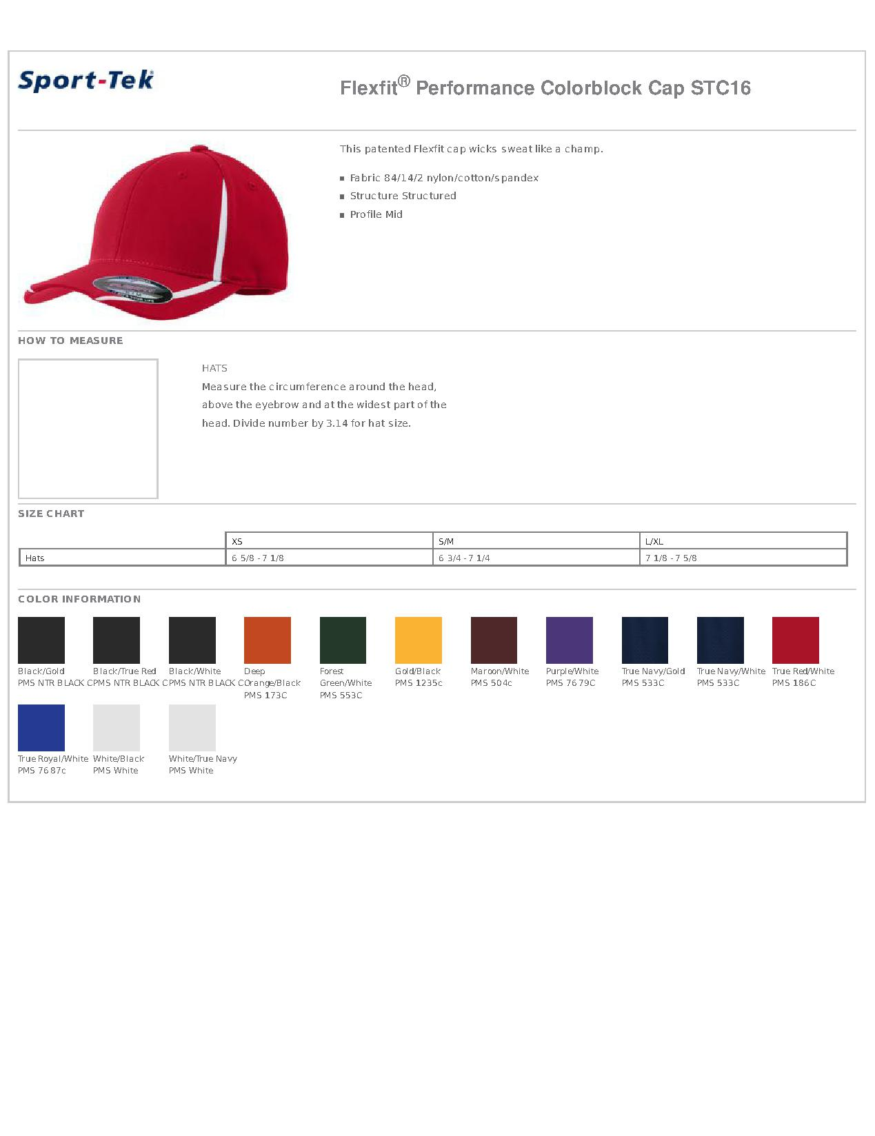 1a21610d331cb Popular Designs. custom design of Sport-Tek® STC16 Flexfit® Performance  Colorblock Cap