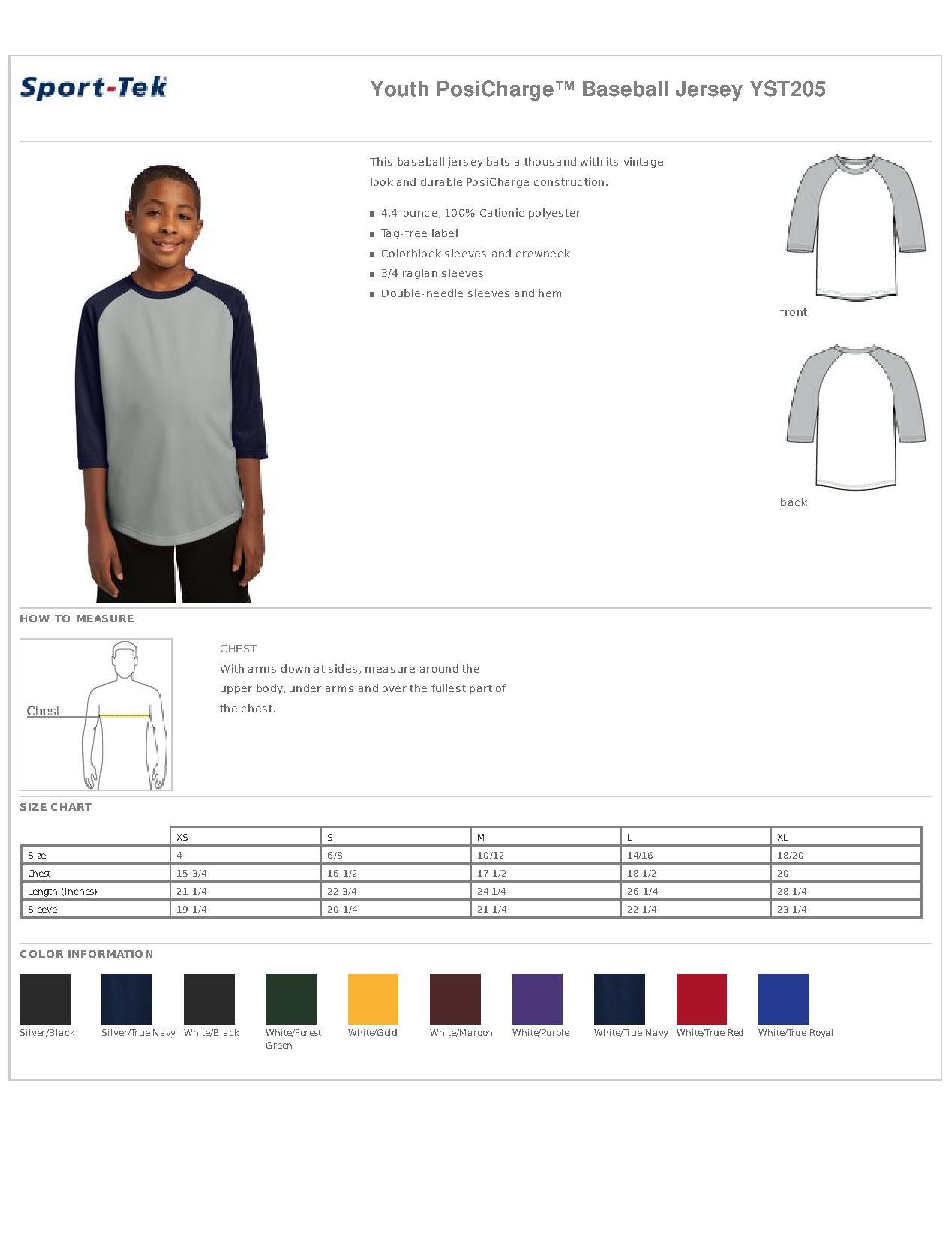 7aad4a898 Sport-Tek® YST205 Youth PosiCharge™ Baseball Jersey - T Shirts