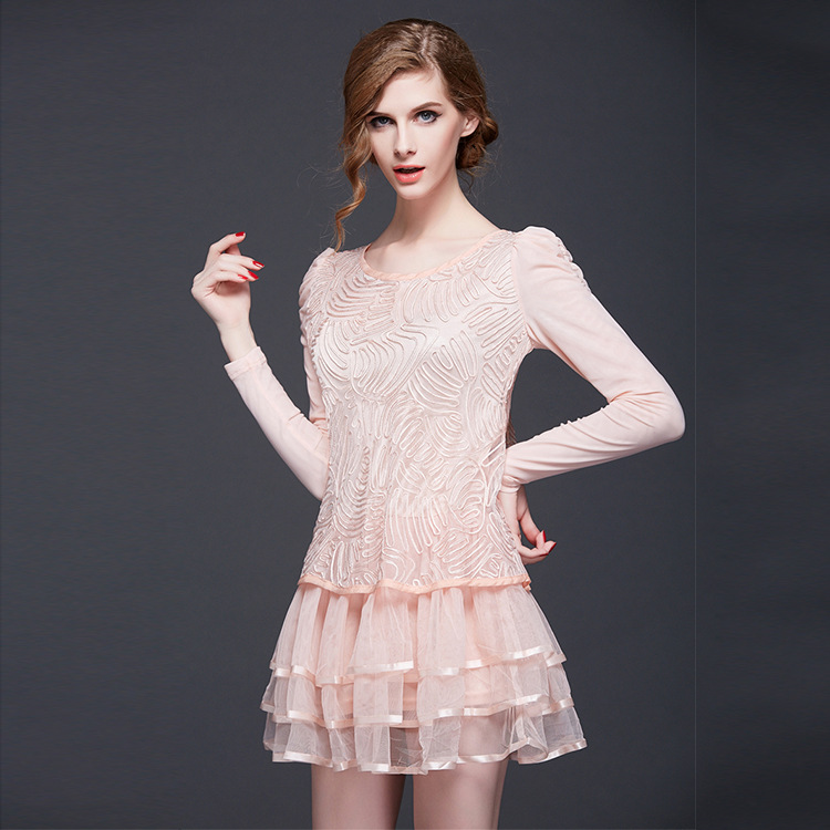 fall pink lace hembroidered dresses slim long sleeve ...
