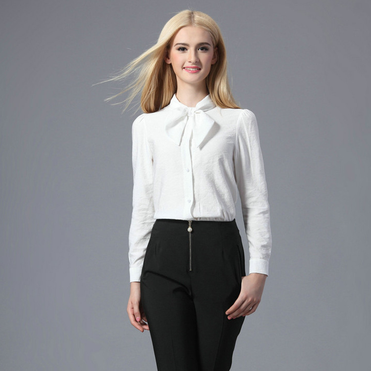 new bubble casual white lapel long sleeve white shirt ...
