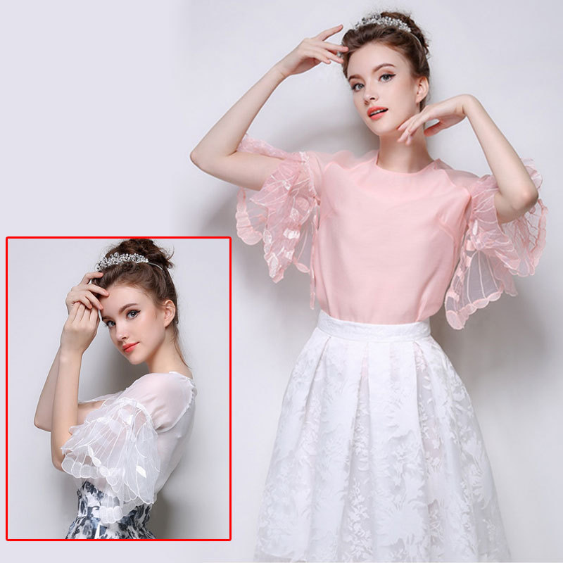 Pink sweet temperament Butterfly sleeve organza t-shirt ...