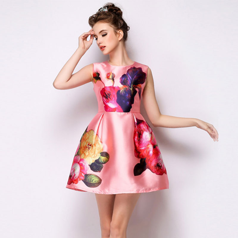 Quality summer printing new stylish sweet sleeveless ...