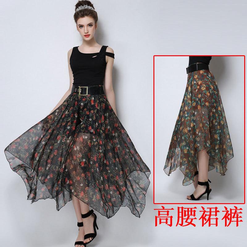 retro flower print silk high-waisted wide leg pants ...