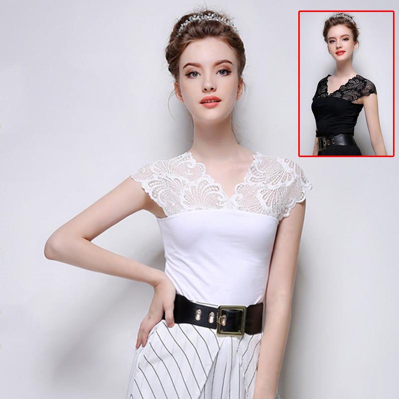 Sexy lace stitching v-neck Joker sleeveless cotton t-...