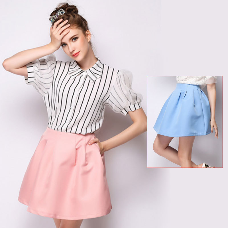 summer casual women's new pure color short Tutu skirts ...