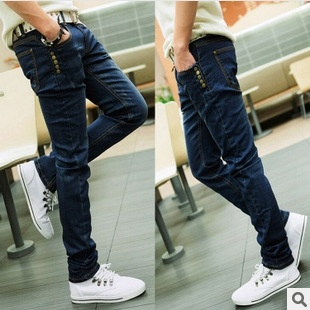 Autumn and Winter - elastic Jeans Male Feet Feet Pencil ...