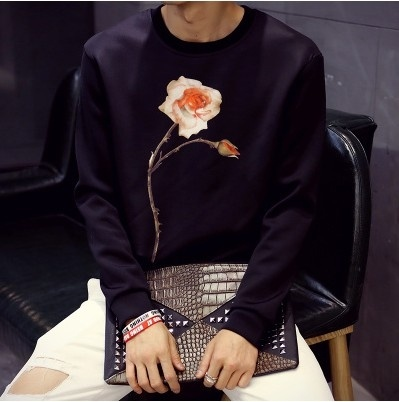 Autumn and winter fashion   Men round neck printing ...