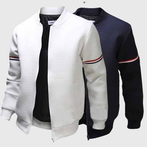 autumn men jacket fashion stand collar ribbon decoration ...