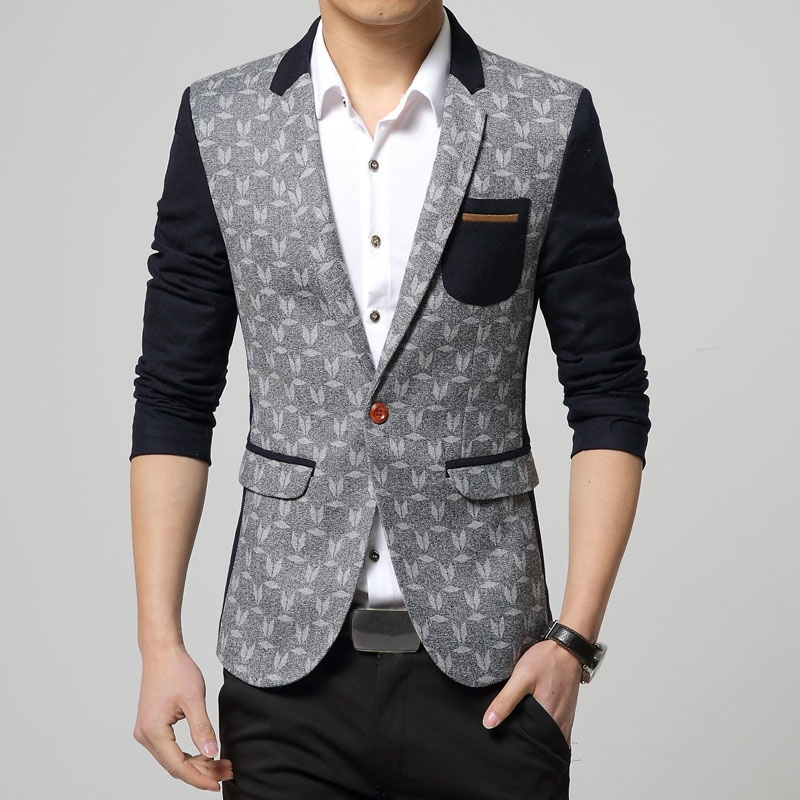 Autumn Men Korean Slim Classic Color Mosaic Blazer Suit