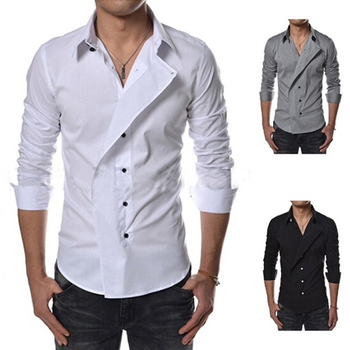 Brand new winter men's long-sleeved shirt lapel personality,...