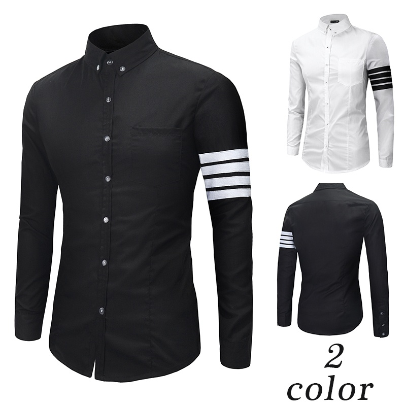 Casual Men Shirt Slim Fit Long Sleeve Shirt Fashion ...