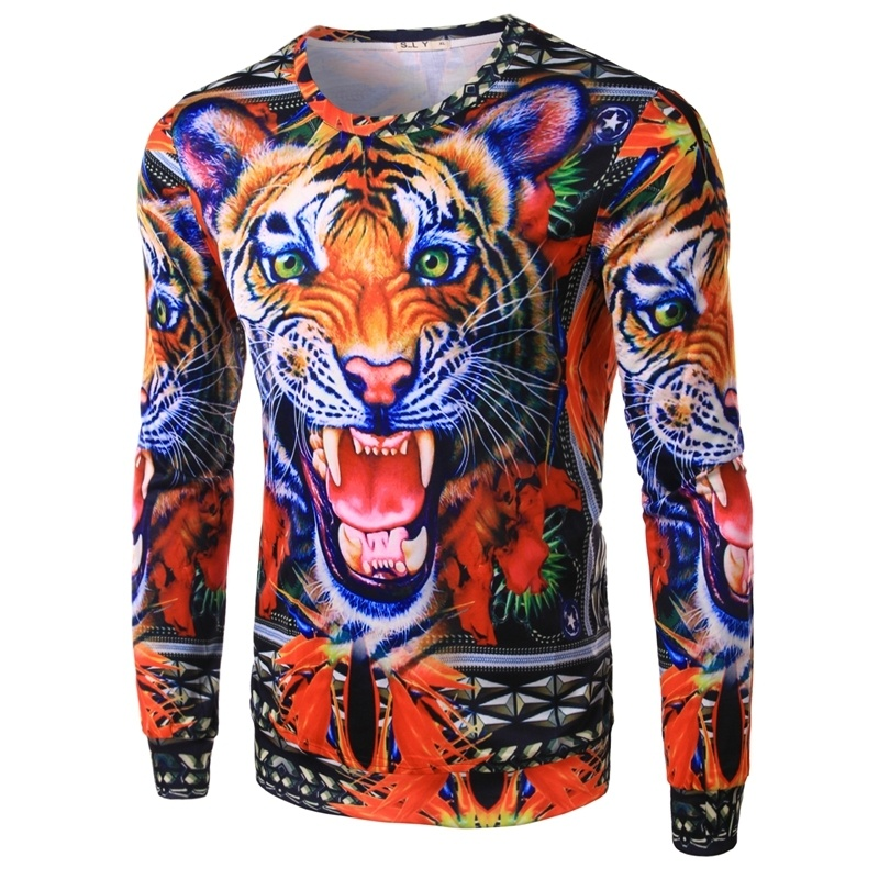 Design 3D Tiger Printed T shirt Men Long Sleeve Casual ...