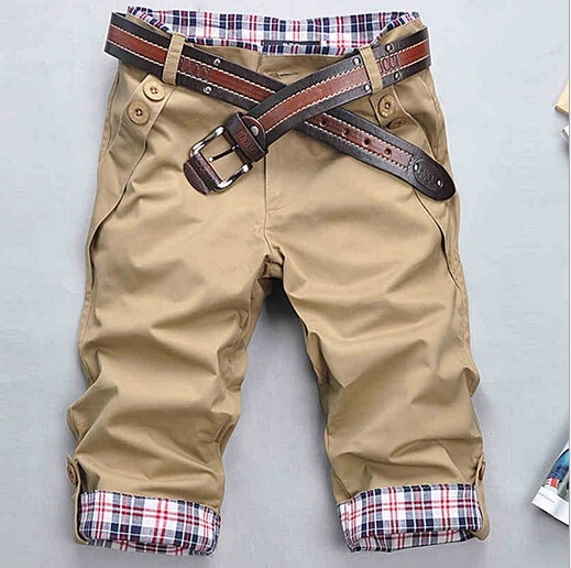 Fashion Korean Stylish Mens Short Pants Lattice Flanging ...