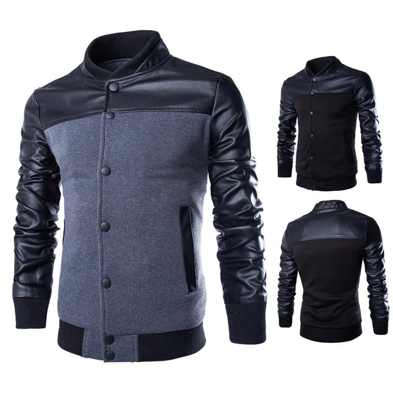 fashion leather stitching design Mens sweater collar ...