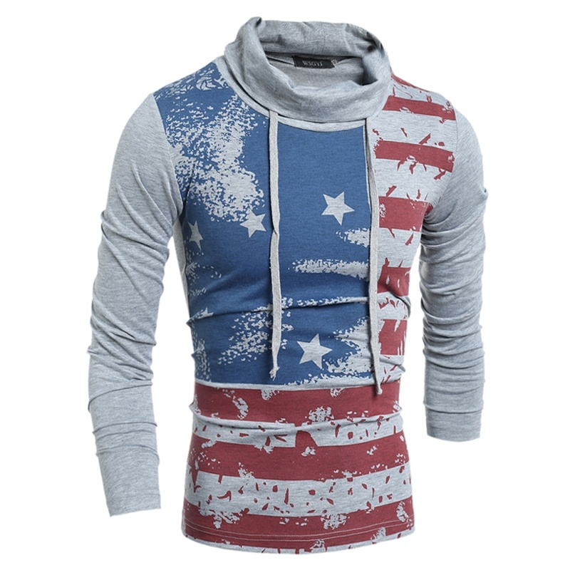 Fashion men slim long-sleeved T-shirt stars and stripes ...