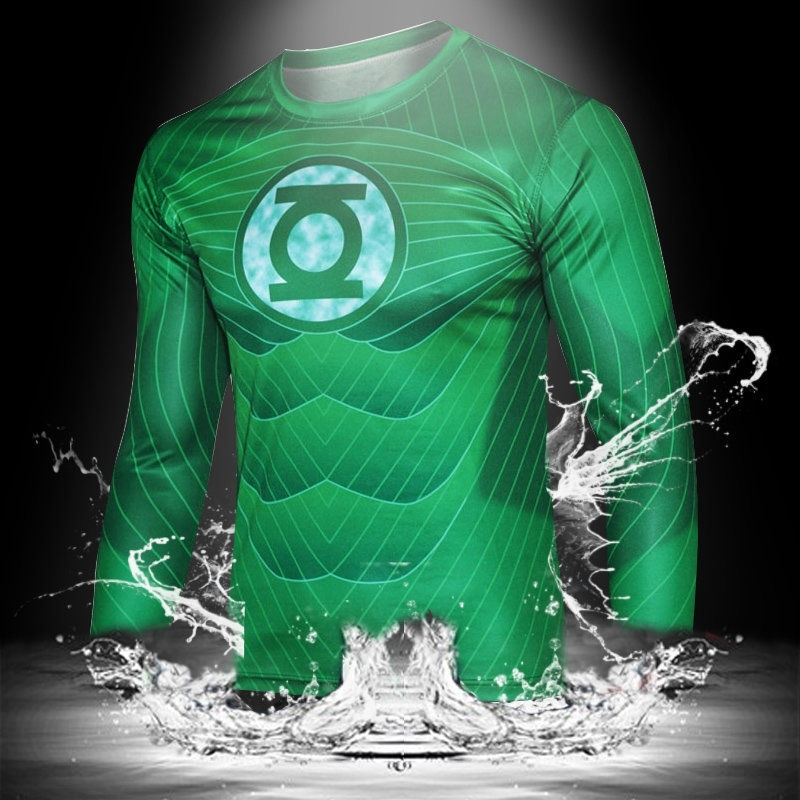 Fashion Men Superhero Green Lantern Long Sleeves T Shirts ...
