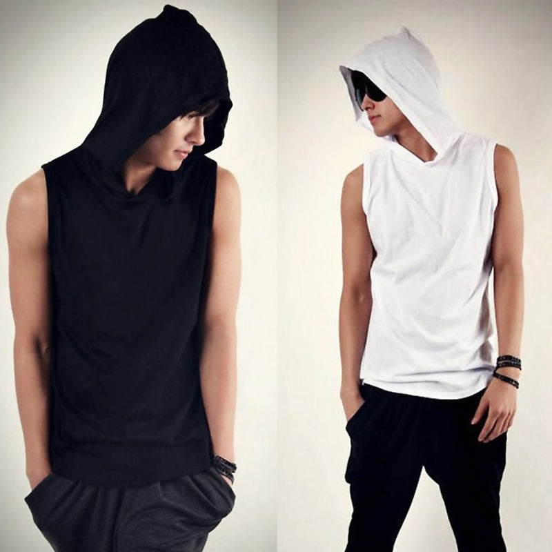 Fashion Men T-shirt Beach Hooded Casual Hoodie Sleeveless ...