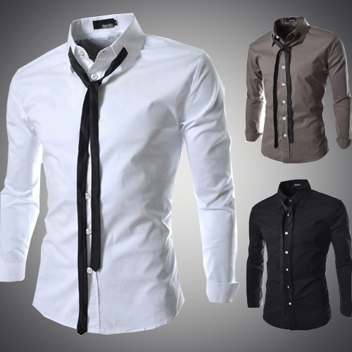 Fashion Men'S Slim Shirts, Male Designer Casual Long-...