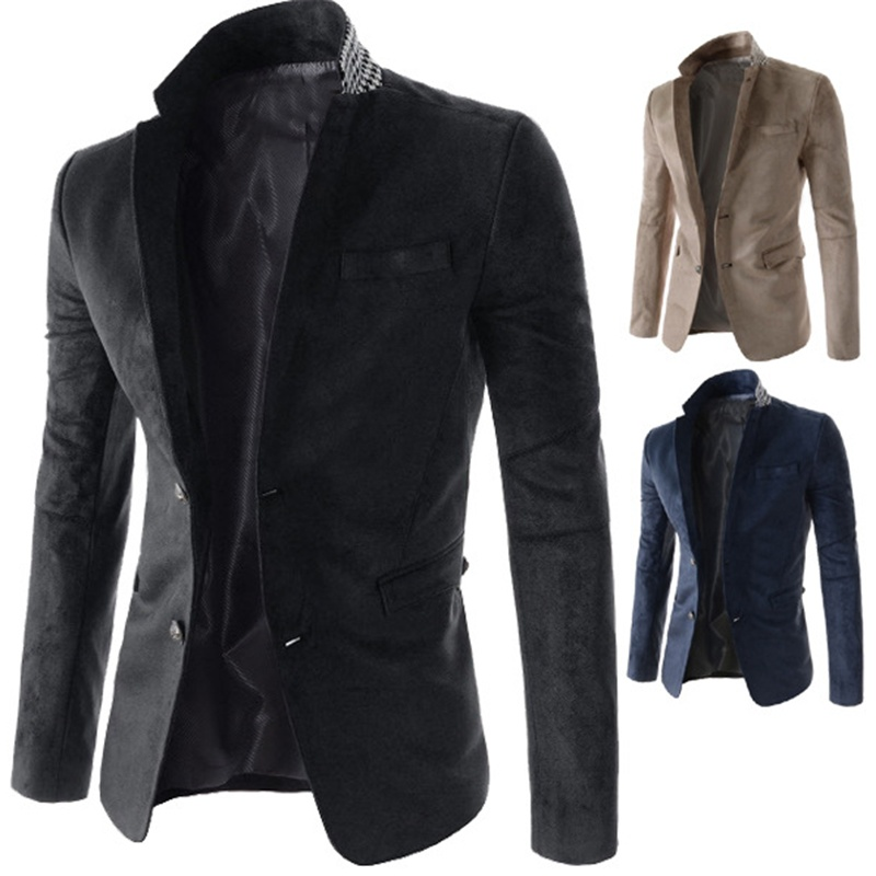 Features Pockets Mosaic Casual Slim Men's Suits