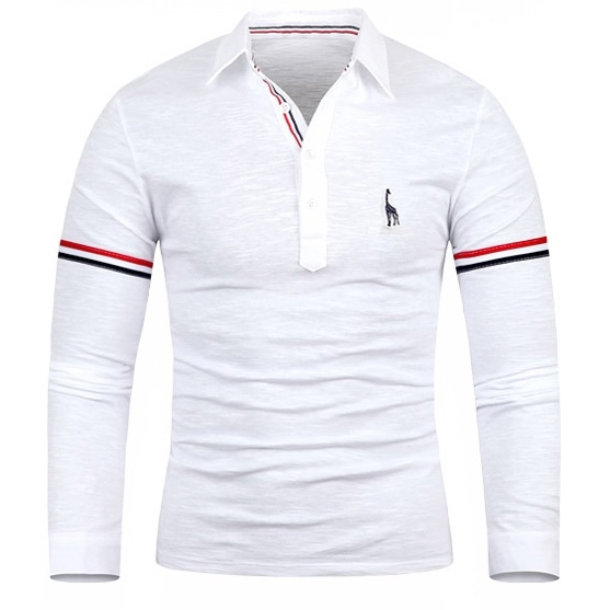 geek men's polo shirt deer embroidery undershirt long ...