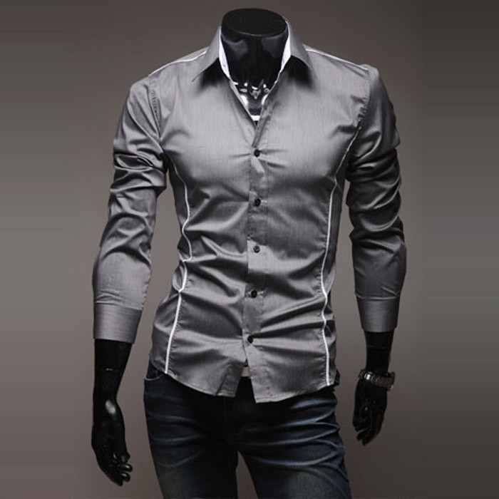 Gray Black White Men Shirt Casual New Fashion